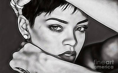 Rihanna Mixed Media - Rihanna Collection by Marvin Blaine