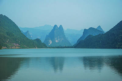 Photograph - River And Mountains Scenery by Carl Ning