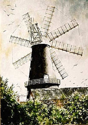 Painting - 8 Sailed Windmill by SJV Jeffery-Swailes