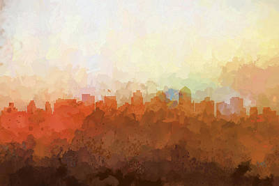 Digital Art - San Diego California Skyline by Marlene Watson