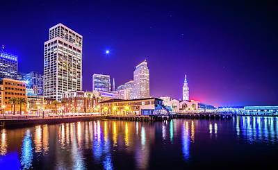 Photograph - San Francisco Downtown City Skyline At Night by Alex Grichenko