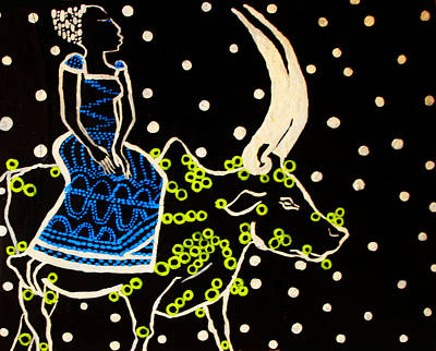 Nuptials Painting - Shilluk Bride - South Sudan by Gloria Ssali