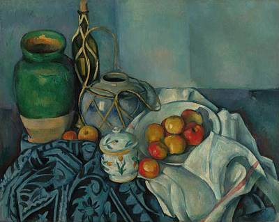 Interior Still Life Painting - Still Life With Apples by Paul Cezanne