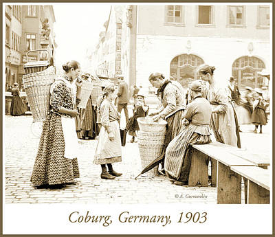 Photograph - Street Market, Coburg, Germany, 1903, Vintage Photograph by A Gurmankin