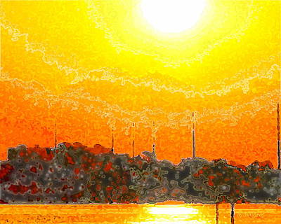 Surfing Art Painting - Sunrise / Sunset / Indian River by W Gilroy