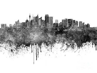 Sydney Skyline Painting - Sydney V2 Skyline In Watercolor Background by Pablo Romero