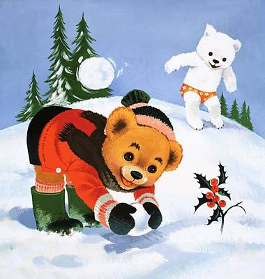 Scarf Drawing - Teddy Bear Christmas Card by William Francis Phillipps