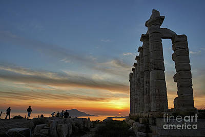 Sounion Photograph - Temple Of Poseidon During Sunset by George Atsametakis