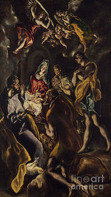 The Shepherds Painting - The Adoration Of The Shepherds by El Greco