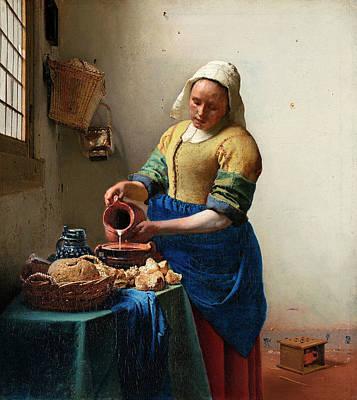 Johannes Vermeer Wall Art - Painting - The Milkmaid by Johannes Vermeer