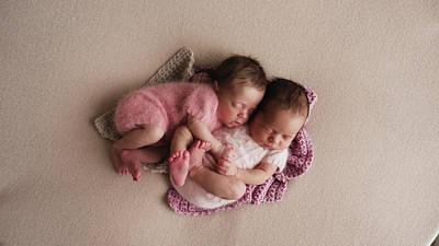 Typography Tees - Two Twins Newborn Sleeping by Elena Saulich