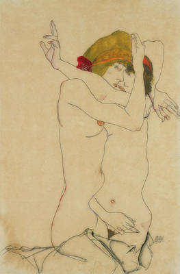 Painting - Two Women Embracing by Egon Schiele