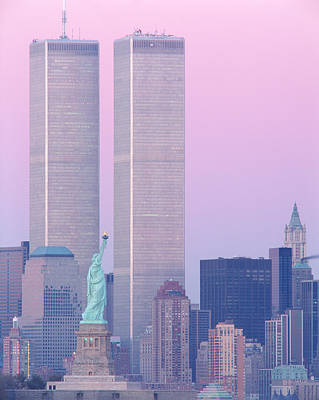 Twin Towers Photograph - Usa, New York, Statue Of Liberty by Panoramic Images