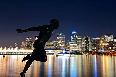Photograph - Vancouver At Night by Songquan Deng