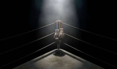Night Shot Wall Art - Digital Art - Vintage Boxing  Corner And Hung Up Gloves by Allan Swart
