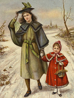 Wintry Drawing - Vintage Christmas Card by English School