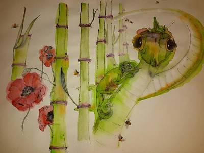 Walking Through  Garden Of Plenty Album    Art Print by Debbi Saccomanno Chan