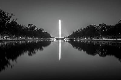 Photograph - Washington Memorial Tower Reflecting In Reflective Pool At Sunse by Alex Grichenko