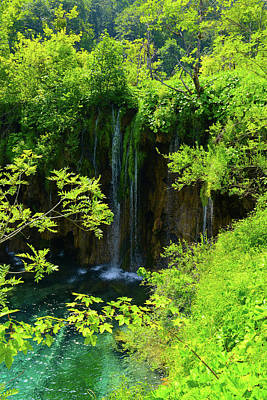 Waterfall In Plitvice National Park In Croatia Art Print