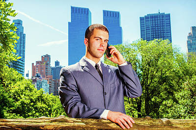 Photograph - Young American Businessman Talking On Cell Phone, Traveling, Wor by Alexander Image
