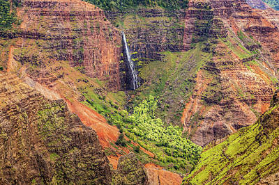 Photograph - 800 Foot Waipoo Falls In The Colorful Waimea Canyon by Pierre Leclerc Photography