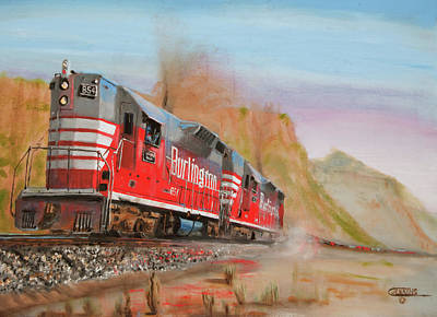 Trains Painting - 8000 Trailing Tons by Christopher Jenkins