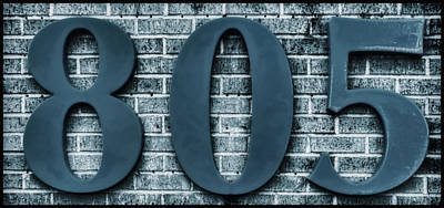 Photograph - 805 Blue Gray Numbers On Bricks Soft-focus by Tony Grider