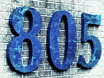 Photograph - 805 Shades Ot Blue Texture On Brick by Tony Grider