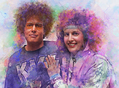 80s Hair Photograph - Homage To The 1980s - Digital Watercolor Pop Art by Rayanda Arts