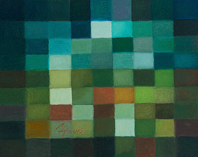 Painting - 81 Color Fields - Chrome Oxide Green by Attila Meszlenyi