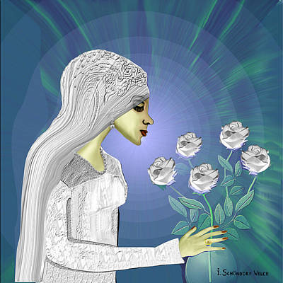 Painting - 828 Bride With White Roses A by Irmgard Schoendorf Welch