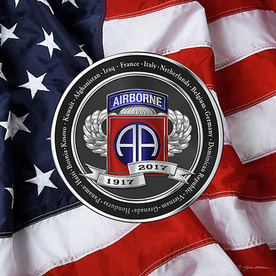 Digital Art - 82nd Airborne Division 100th Anniversary Medallion Over American Flag by Serge Averbukh