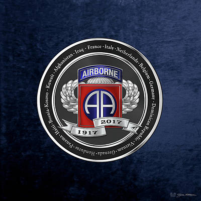 82nd Airborne Division 100th Anniversary Medallion Over Blue Velvet Original by Serge Averbukh