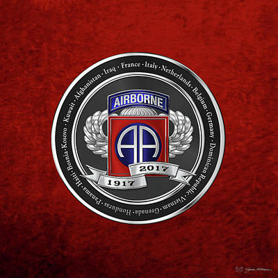 82nd Airborne Division 100th Anniversary Medallion Over Red Velvet Original by Serge Averbukh