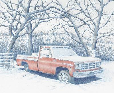 Snow Scene Landscape Drawing - Big Red by Roger Womack