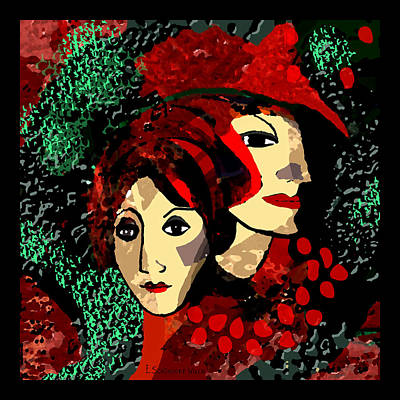 Digital Art - 845 -  Portrait Of Two Ladies In  Red And Green 2017 by Irmgard Schoendorf Welch
