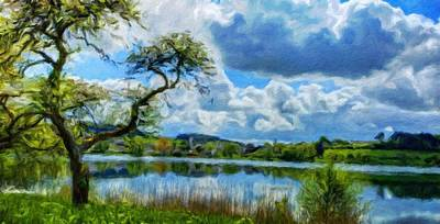 Tranquil Painting - Nature Oil Canvas Landscape by Margaret J Rocha