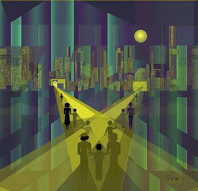 Luminescent Painting - 854 - Nightwalking  To A Distant  City     by Irmgard Schoendorf Welch