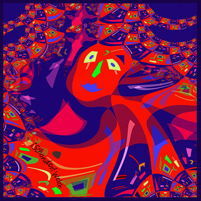 Bold Colours Painting - 873 - Clown Lady Pop  -2017 by Irmgard Schoendorf Welch