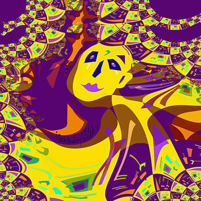 Digital Art - 874 - Mellow Yellow Clown Lady - 2017 by Irmgard Schoendorf Welch