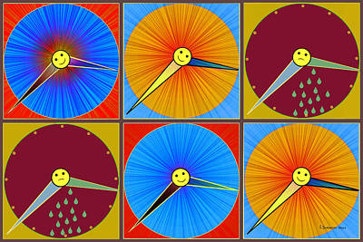 Painting - 884  Rain Shine Pop Clocks  by Irmgard Schoendorf Welch