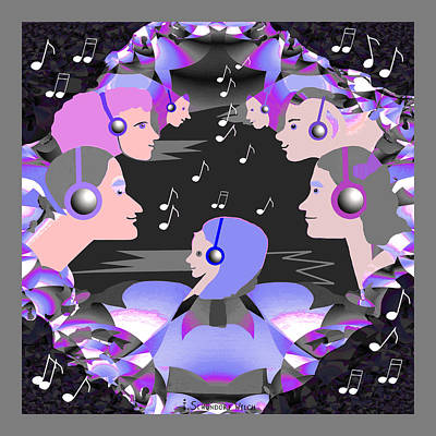 Digital Art - 889  Happily Listening To The Music V by Irmgard Schoendorf Welch
