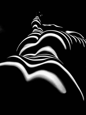 Photograph - 8903-slg Zebra Woman Shoulders And Back Sensual Nude Abstract Black White Stripe By Chris Maher  by Chris Maher