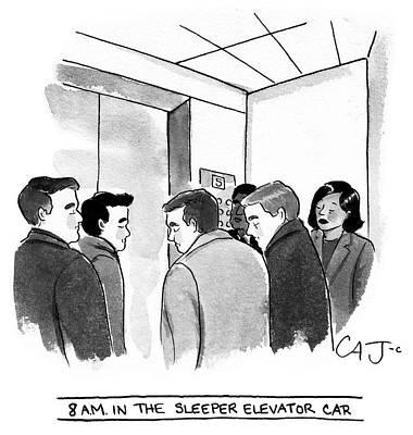 Drawing - 8am In The Sleeper Elevator Car by Carolita Johnson