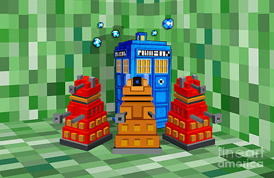 Eleventh Doctor Drawing - 8bit Retro Cubik Robot Capture The Phone Booth by Three Second