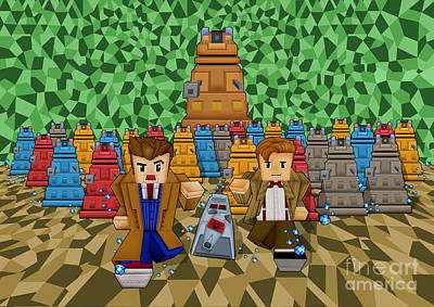 Fandom Digital Art - 8bit Time Traveller Vs Robot Droid by Three Second
