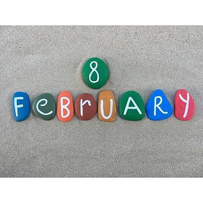Wall Art - Photograph - 8th February, Calendar Date On Colored by Adriano La Naia