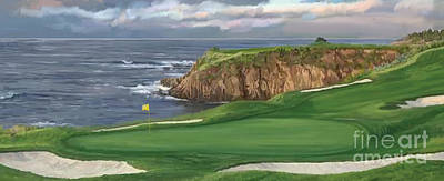 Painting - 8th Hole Pebble Beach Hol by Tim Gilliland
