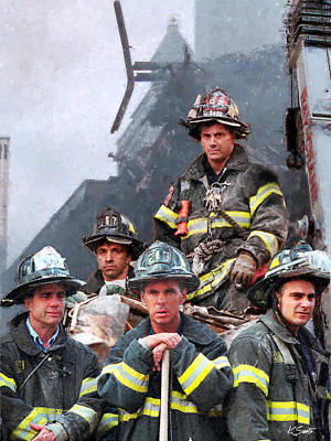 Digital Art - 9/11 Firefighters by Kai Saarto
