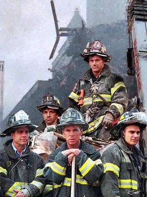Digital Art - 9/11 Firefighters by Kai Saarto